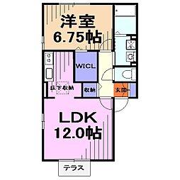 埼玉県川口市戸塚東2丁目の賃貸アパートの間取り