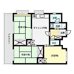 福岡県福岡市中央区警固2丁目の賃貸マンションの間取り