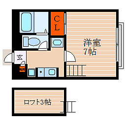 滋賀県彦根市野瀬町の賃貸アパートの間取り