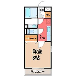 栃木県小山市城北2の賃貸アパートの間取り