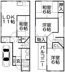 [一戸建] 大阪府枚方市田口2丁目 の賃貸【/】の間取り