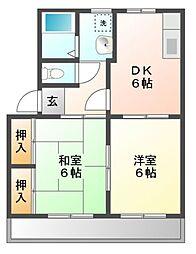 愛知県豊川市一宮町社の賃貸アパートの間取り