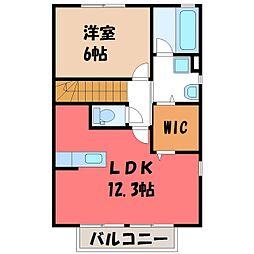 栃木県真岡市下高間木1丁目の賃貸アパートの間取り