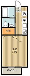 JR武蔵野線 新秋津駅 徒歩9分の賃貸アパート 2階1Kの間取り