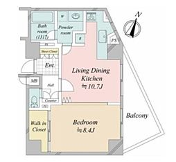 デュオ・スカーラ赤坂2 6階1LDKの間取り
