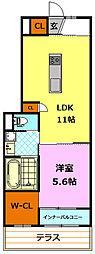 JR水戸線 結城駅 徒歩20分の賃貸アパート 1階1LDKの間取り