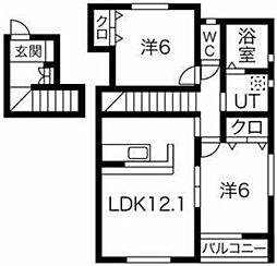 コート・エージ 2階2LDKの間取り
