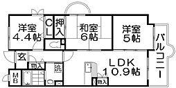 香里プラザ6[3階]の間取り