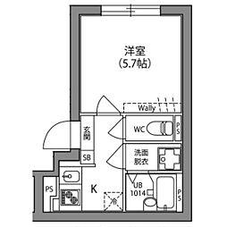 Hi−Five阿佐ヶ谷 3階1Kの間取り