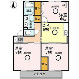 パークサイドハイツ桂台A棟[2階]の間取り