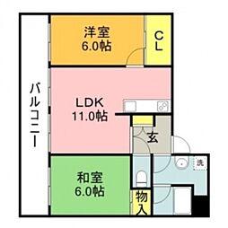 三苫ハイツ2号館[207号室]の間取り