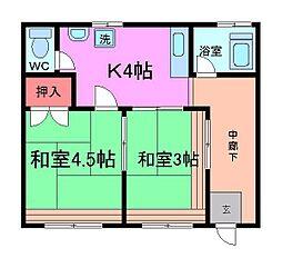 平田第二マンション[3階]の間取り