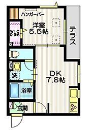 京急本線 立会川駅 徒歩7分の賃貸マンション 1階1DKの間取り