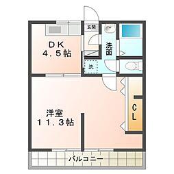 愛知県岡崎市鴨田町字山畔の賃貸アパートの間取り