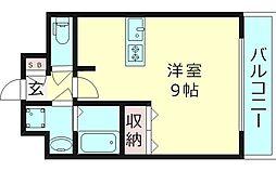 ヴァンスタージュ大阪城East 4階ワンルームの間取り