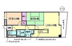 大阪府豊中市小曽根4丁目の賃貸マンションの間取り