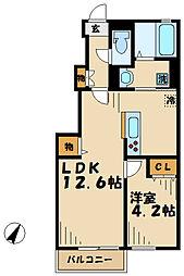 神奈川県川崎市麻生区白鳥1丁目の賃貸アパートの間取り