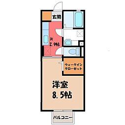 茨城県古河市中央町2丁目の賃貸アパートの間取り