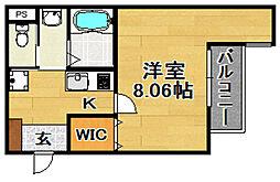 阪急京都本線 淡路駅 徒歩7分の賃貸マンション 1階1LDKの間取り