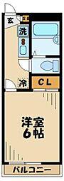 京王相模原線 京王永山駅 徒歩9分の賃貸マンション 2階1Kの間取り
