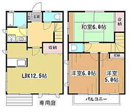[テラスハウス] 東京都東大和市向原5丁目 の賃貸【/】の間取り