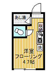 東京都渋谷区初台1丁目の賃貸アパートの間取り