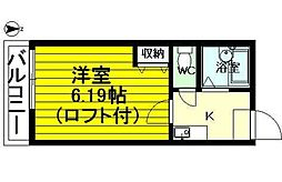 レジデンス七隈[208号室]の間取り