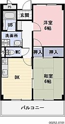 愛知県岩倉市東町の賃貸マンションの間取り