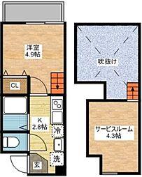 長崎県長崎市若葉町の賃貸アパートの間取り