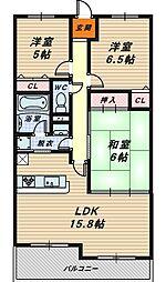浅香山グリーンマンション[10階]の間取り