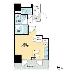 都営新宿線 岩本町駅 徒歩5分の賃貸マンション 4階ワンルームの間取り