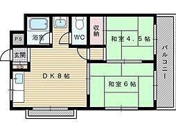 大阪府吹田市岸部北2の賃貸マンションの間取り