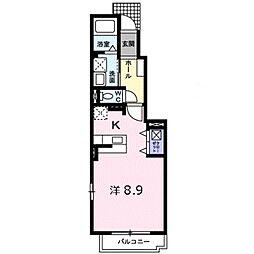 西武新宿線 東村山駅 徒歩13分の賃貸アパート 1階ワンルームの間取り