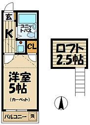 神奈川県鎌倉市大船の賃貸アパートの間取り