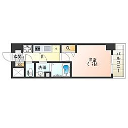 阪神なんば線 九条駅 徒歩4分の賃貸マンション 8階1Kの間取り