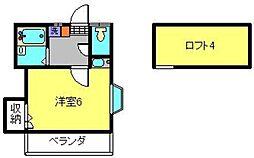 神奈川県横浜市港南区笹下5丁目の賃貸アパートの間取り