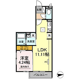 東武伊勢崎線 谷塚駅 徒歩25分の賃貸アパート 1階1LDKの間取り