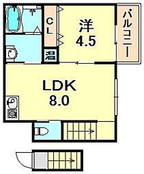 JR東海道・山陽本線 三ノ宮駅 徒歩12分の賃貸アパート 2階1LDKの間取り
