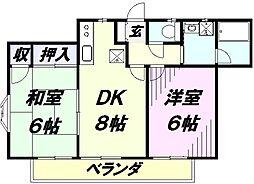 埼玉県所沢市松葉町の賃貸アパートの間取り