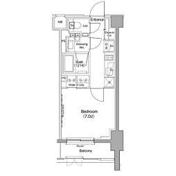 ザ・パークハビオ神泉 地下1階1Kの間取り