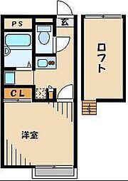 JR川越線 的場駅 徒歩6分の賃貸アパート 1階1Kの間取り