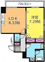 K.ビル 6階1LDKの間取り
