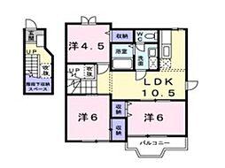レーベン中畝 D[2階]の間取り