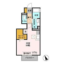 JR常磐線 新松戸駅 徒歩11分の賃貸アパート 1階ワンルームの間取り