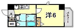 JR東海道・山陽本線 灘駅 徒歩2分の賃貸マンション 9階1Kの間取り