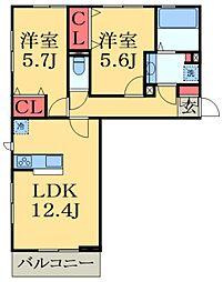 京成千原線 ちはら台駅 徒歩35分の賃貸アパート 3階2LDKの間取り