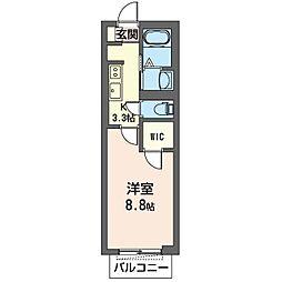 仮)市原市更級マンション 3階1Kの間取り