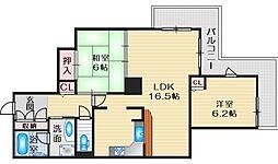 メロード吹田壱番館 25階2LDKの間取り
