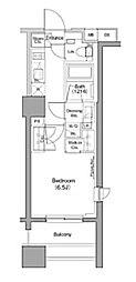 ザ・パークハビオ木場 10階1Kの間取り