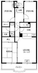 ドゥジェーム・ニイヤ 3階3LDKの間取り